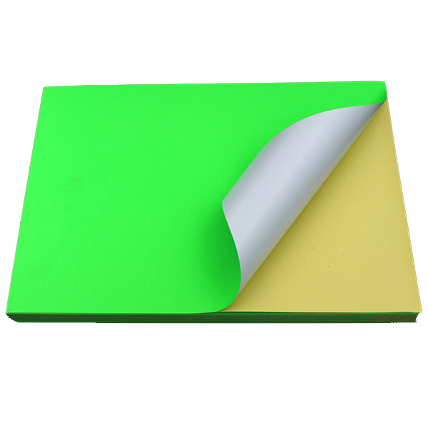 Fluorescent Green Sticker Color Paper Label A4 100's