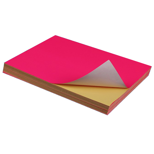 Fluorescent Pink Sticker Color Paper Label A4 100's