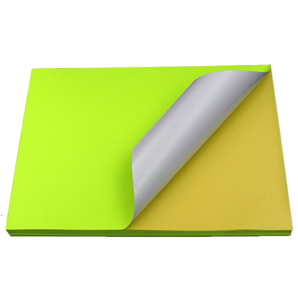Fluorescent Yellow Sticker Color Paper Label A4 100's