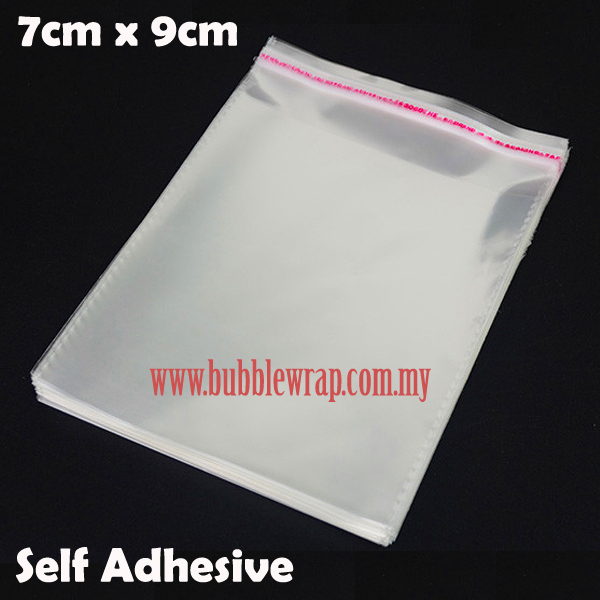 100pcs OPP Bag 7x9cm Self Adhesive Transparent Plastic Bag