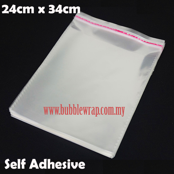 100pcs OPP Bag 24x34cm Self Adhesive Transparent Plastic Bag