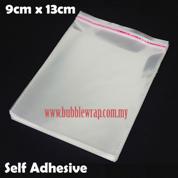 100pcs OPP Bag 9x13cm Self Adhesive Transparent Plastic Bag